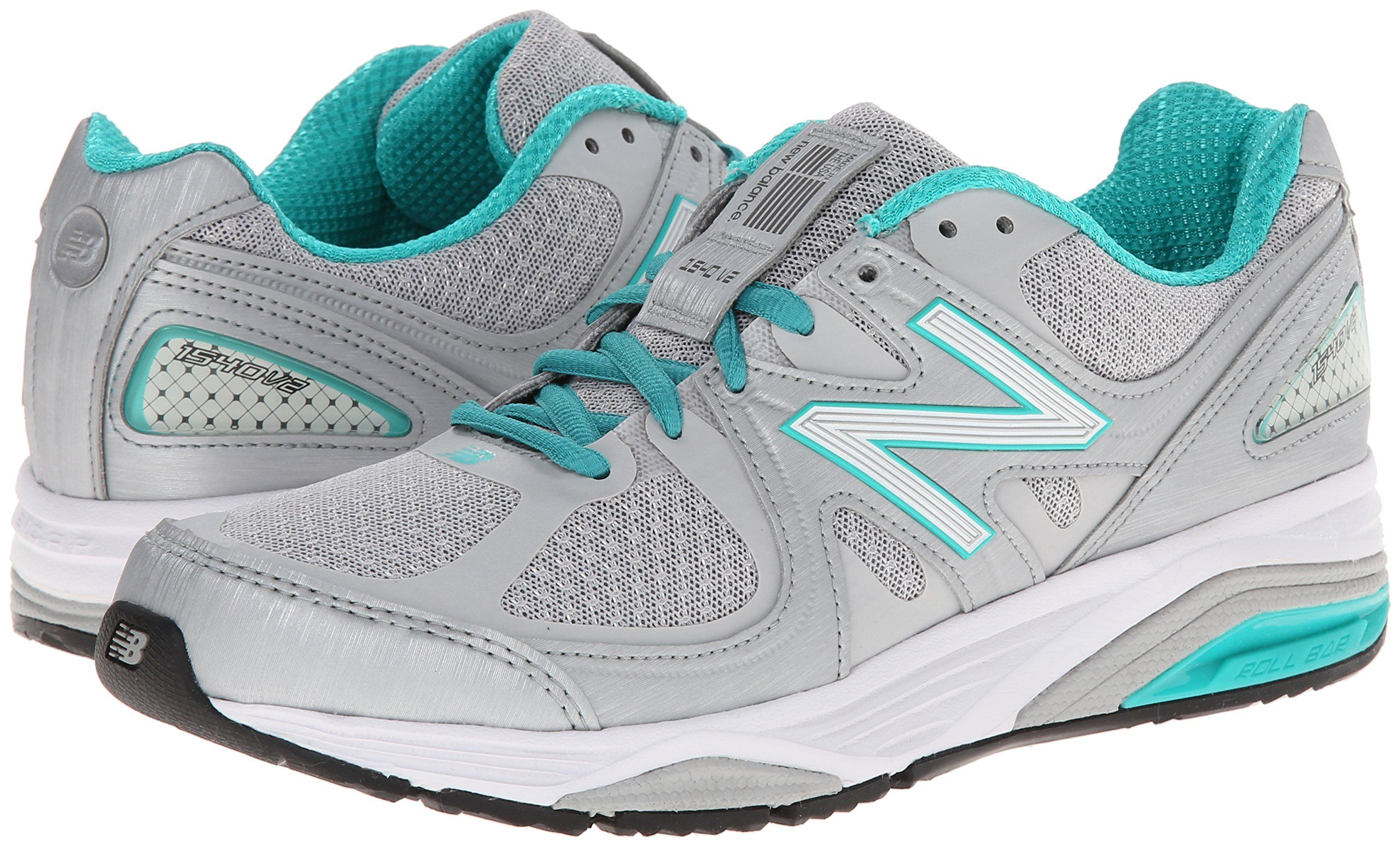 New Balance Womens W1540V2 Running Shoe Silver/Green 8 D US ** To ...