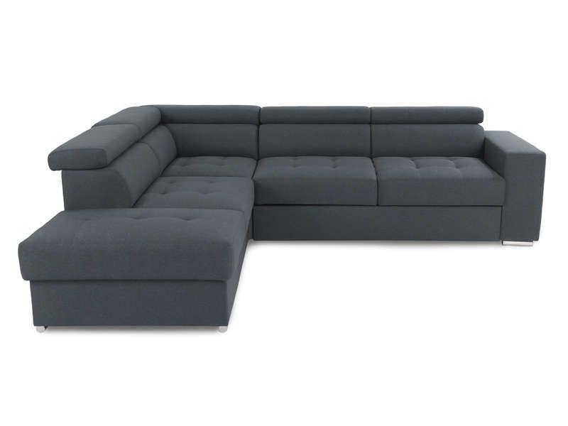 Canapé d\u0027angle gauche convertible 4 places MAZZ coloris gris