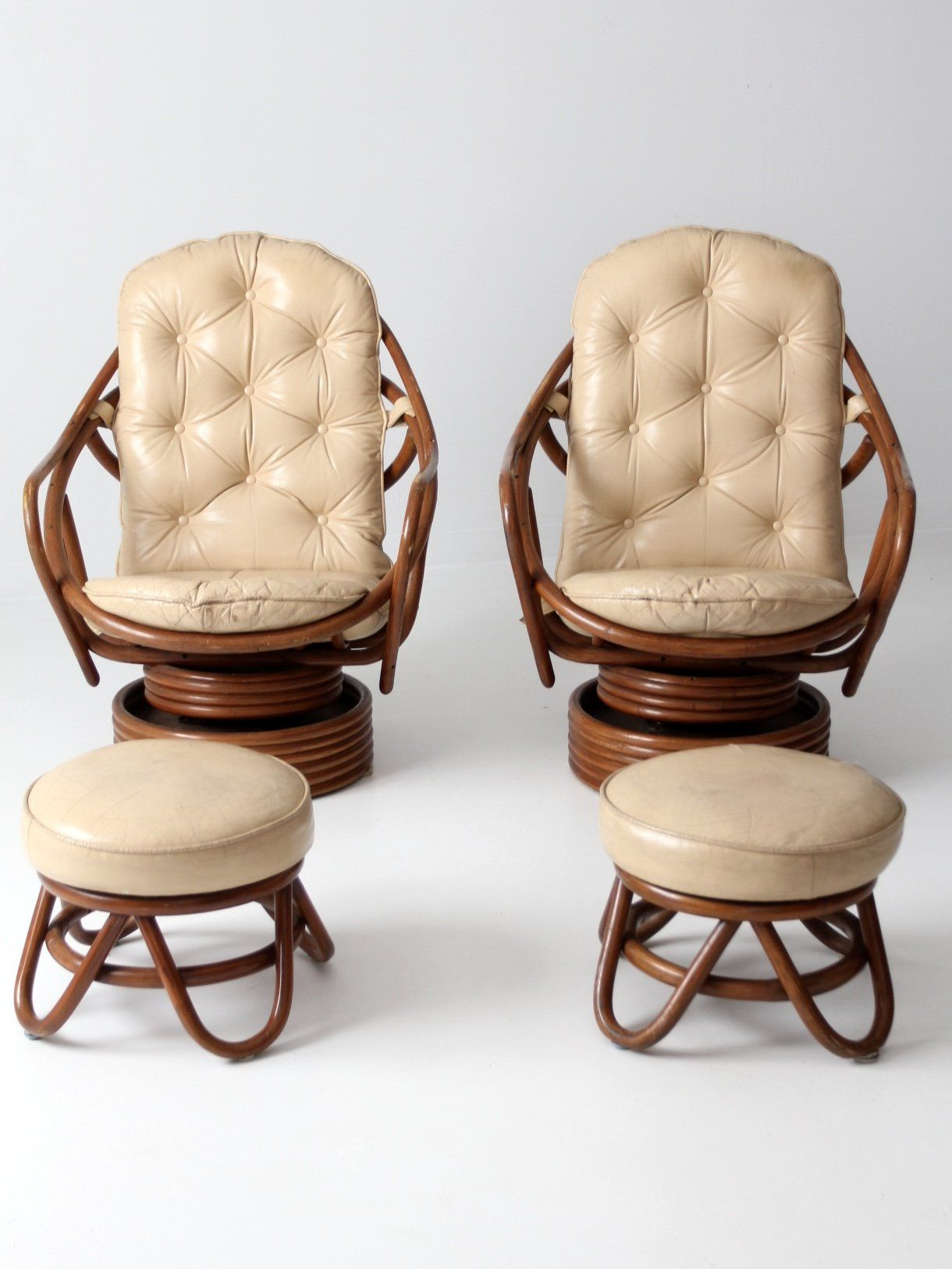 Midcentury rattan lounge chairs with ottomans chair