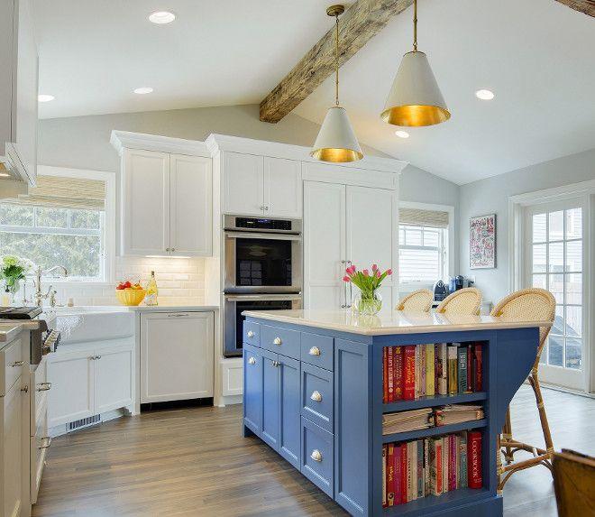 Blue Kitchen Island Paint Color White With Ideas Bluekitchenislandpaintcolor
