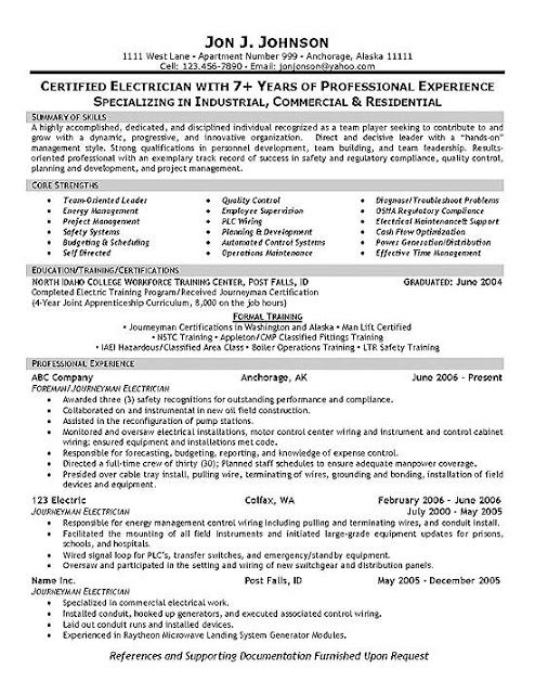 It Sample Resume Format Electrician Resume Samples  Sample Resumes  Sample Resumes .