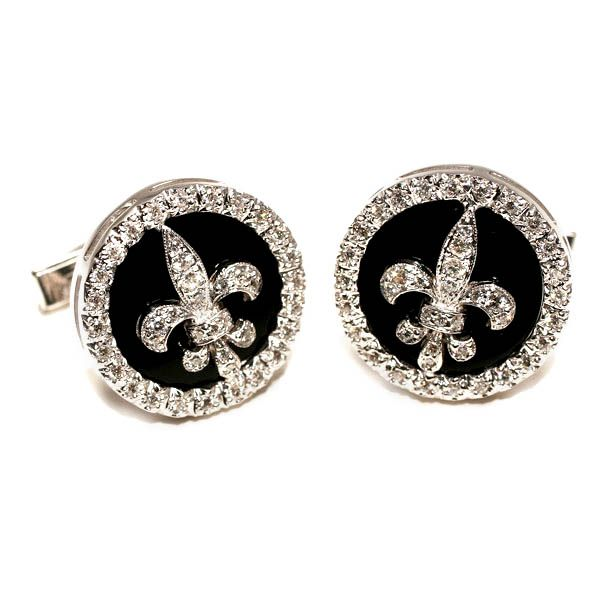 Diamond Fleur- de-lis cufflinks