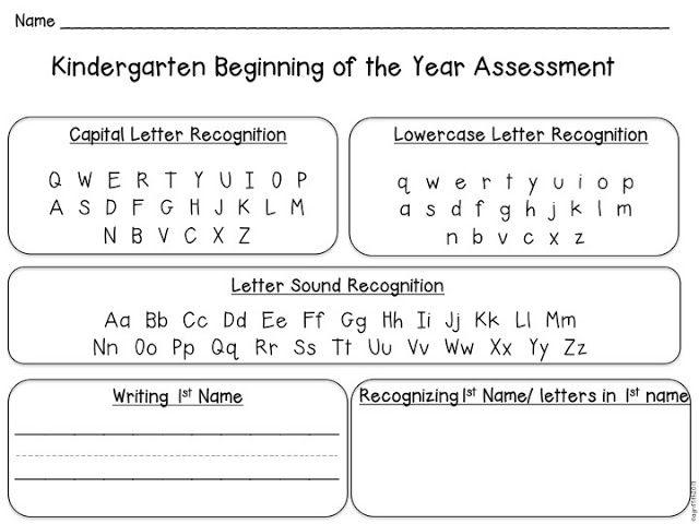 Back to School Kindergarten Assessment   Kindergarten assessment ...
