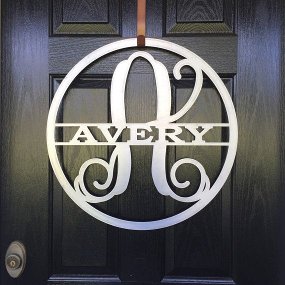 Outdoor Metal Monogram Letters Monogram Door Hanger Monogrammed Wreath Doorhousesensations