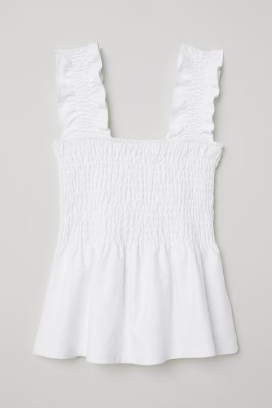 Photo of Smocked Peplum top – hvid – damer   H&M USA