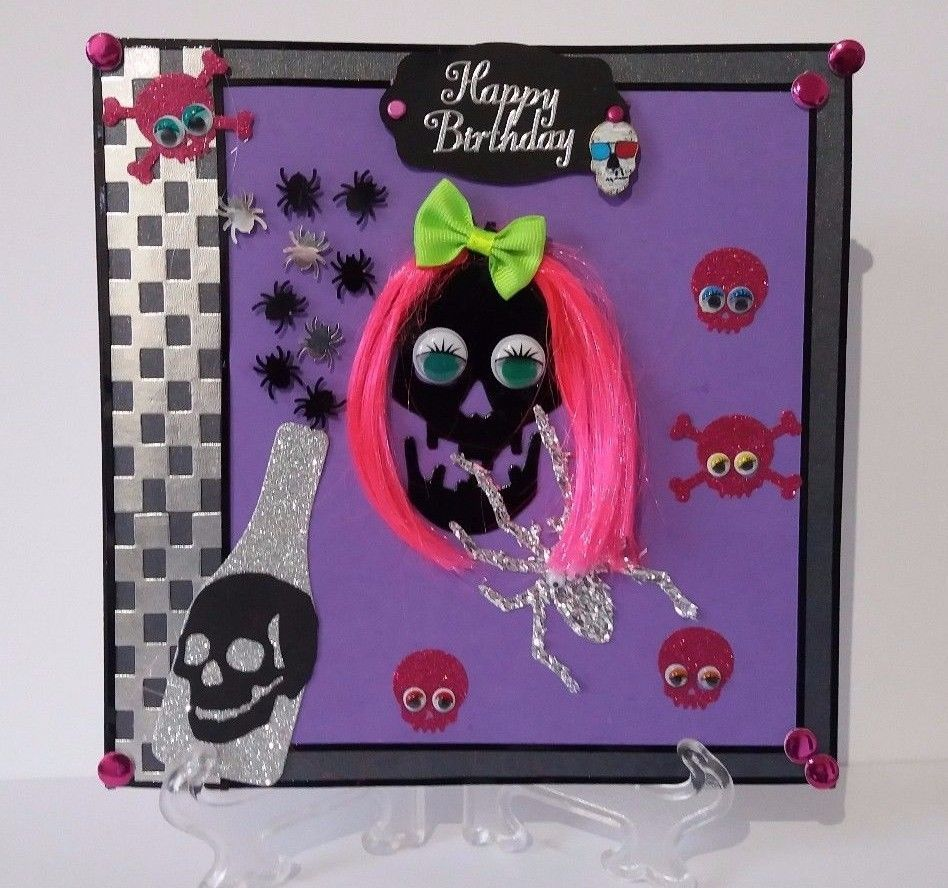 Alternative Birthday Card Fun Skull Card With Small Removable