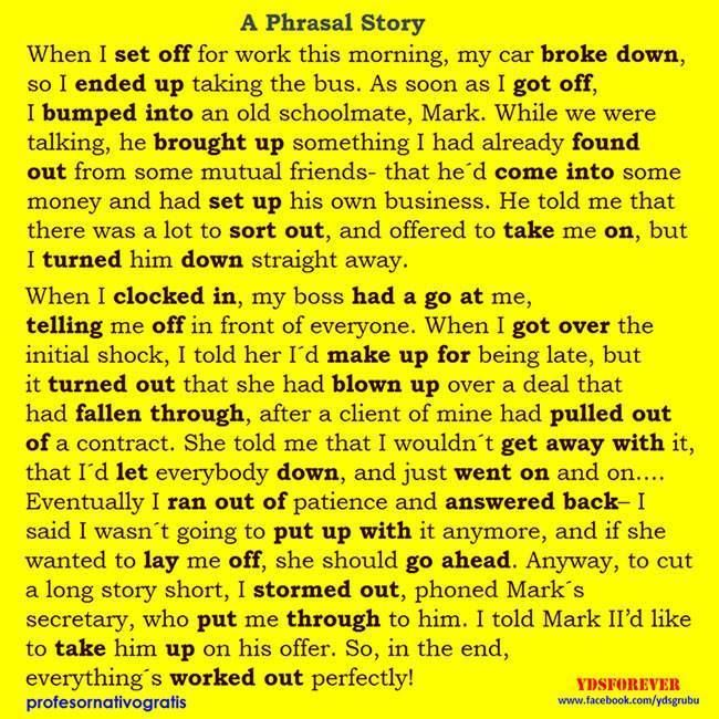 A Phrasal Story In English English Reading Learn English