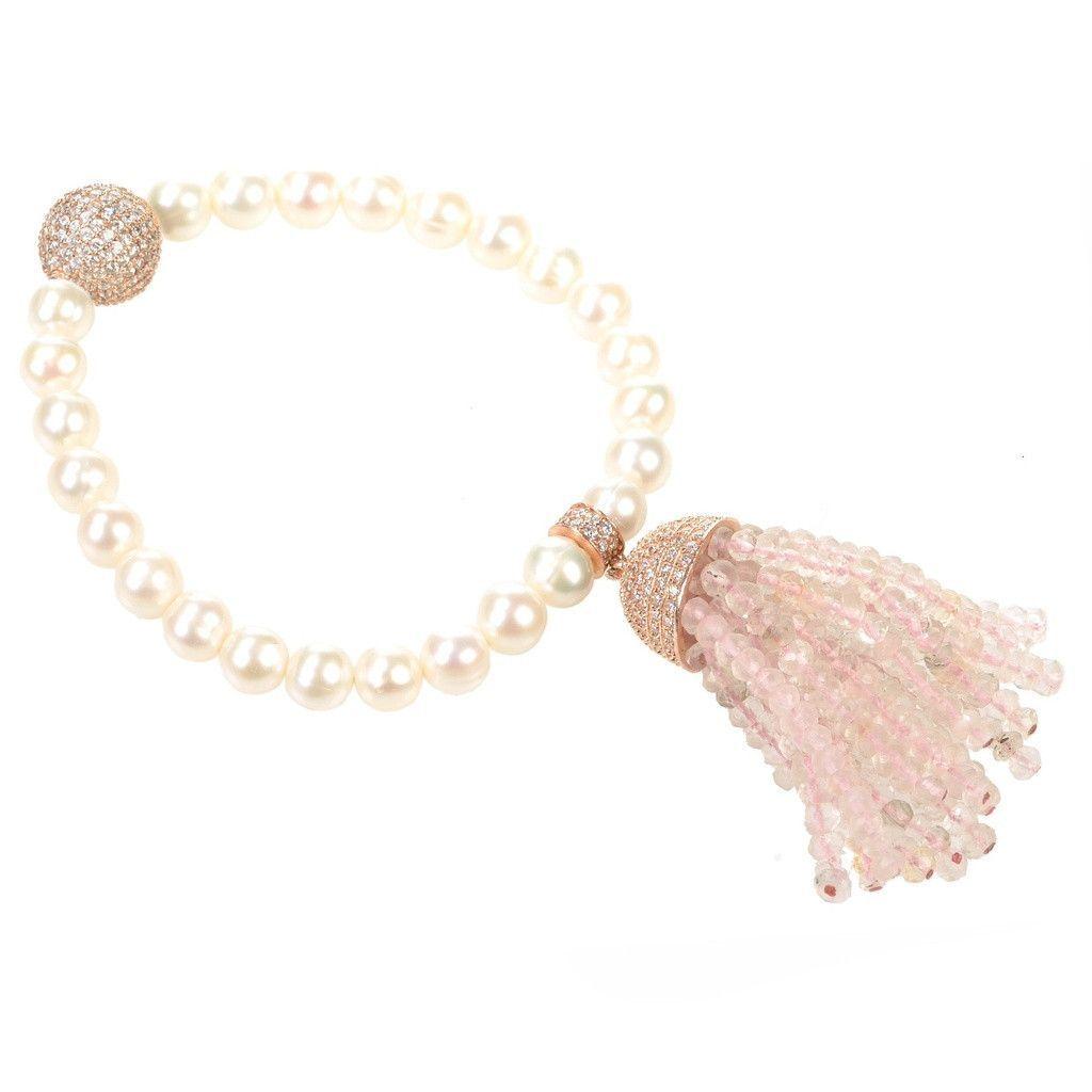 Latelita London Tassel Pearl Bracelet With Smoky Quartz pOuhgufid