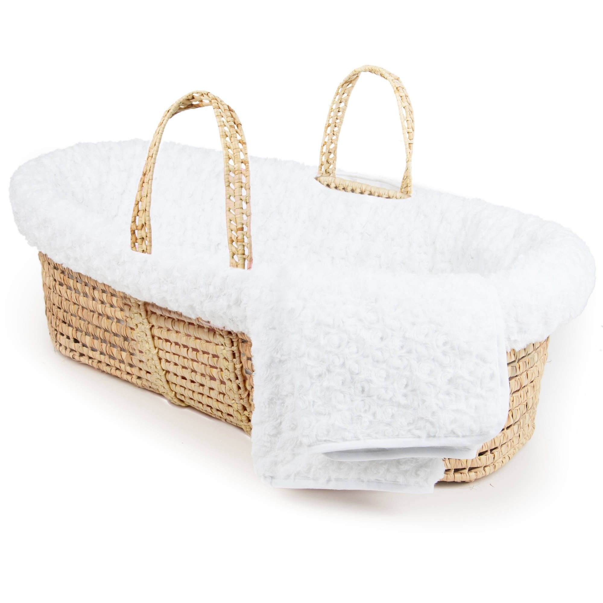 White Tadpoles Cable Knit Moses Basket Bedding Only