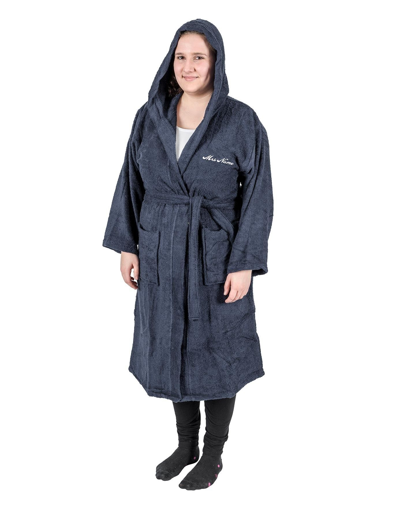 Navy 100% Egyptian Cotton Personalised Bathrobe with Hood | Unique ...