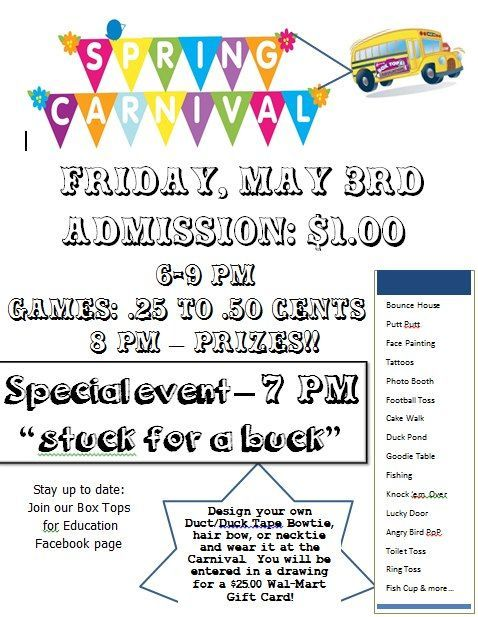 school spring carnival posters | Welch Elementary, Welch WV | Box Tops for Education