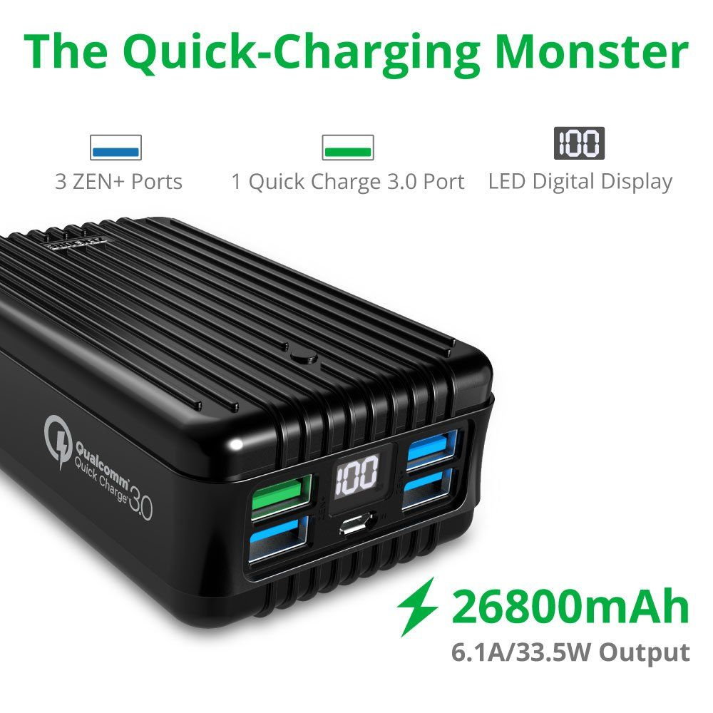 Quick Charge 3 0 Zendure A8 Qc Portable Charger External Battery 26800mah With Qualcomm Qc 3 0 Super High Capacity Power Ban In 2020 Portable Charger Charger Powerbank