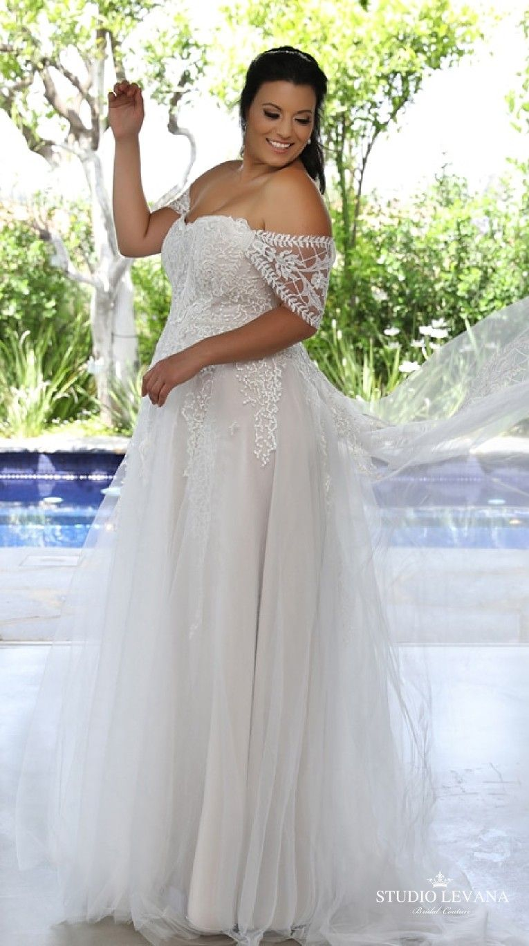 Plus Size Strapless Wedding Gown With Off Shoulder Sleeves Kerrie