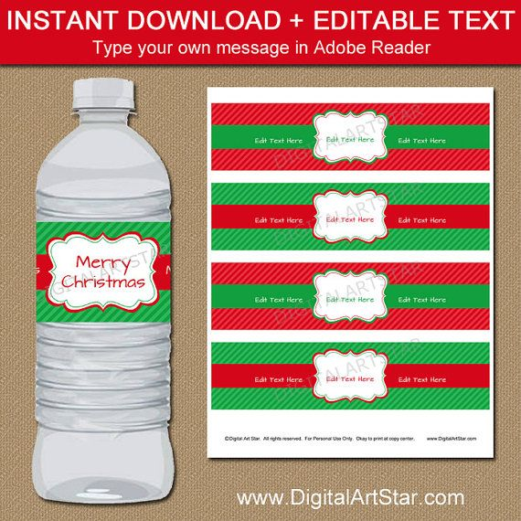 christmas water bottle label template red and green holiday water