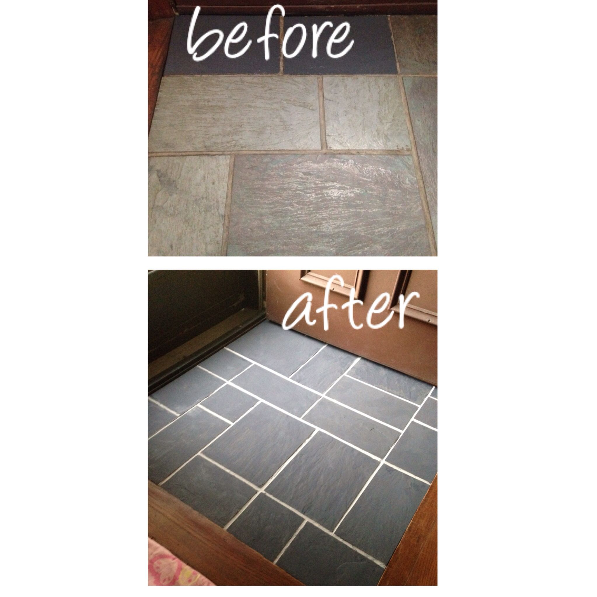 Painted Slate Floor In Entryway Using Annie Sloan Chalk Paint In Graphite On Tiles And French Linen In Grout Painting Tile Floors Painting Tile Slate Flooring