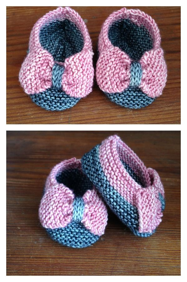 Baby Slippers With Bow Free Knitting Pattern Brei Klere Truie