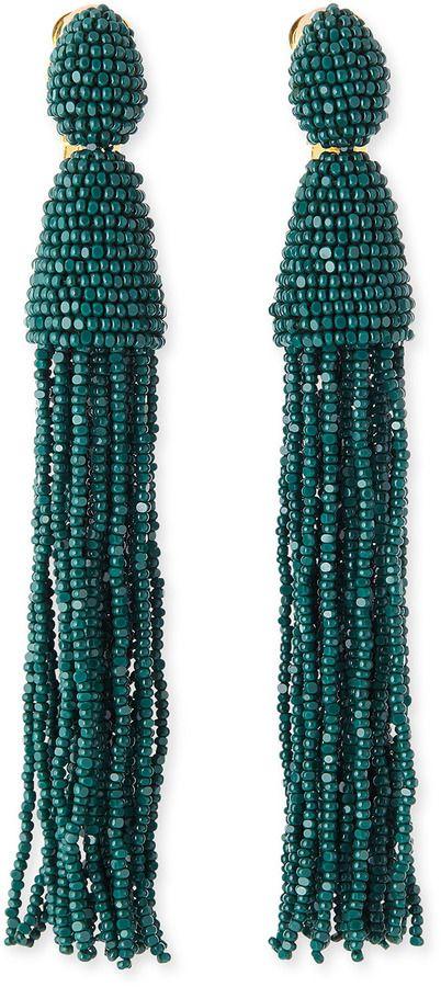 Long Beaded Tassel Clip Earrings in Ruby Synthetic Material Oscar De La Renta Discount New ncV8uExxl4