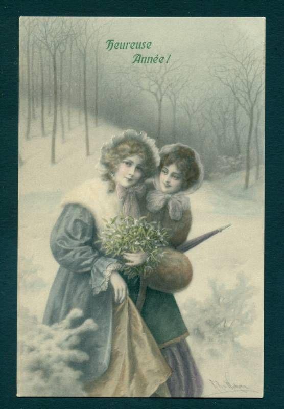 P7367 Wicheria postcard, New Year women, Mistletoe   EBAY ...