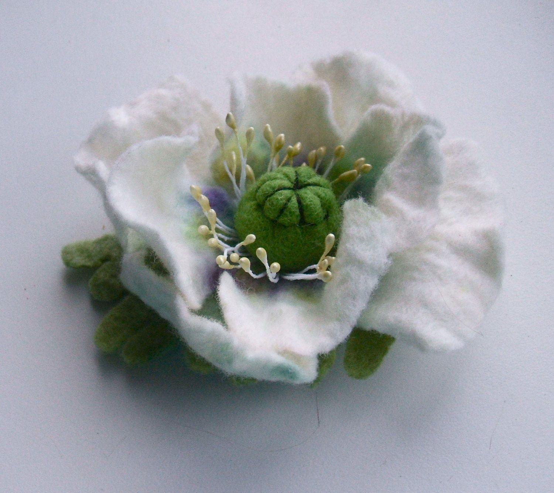 Felted Brooch White Poppy Flowers Brooch Felted Flower Brooch