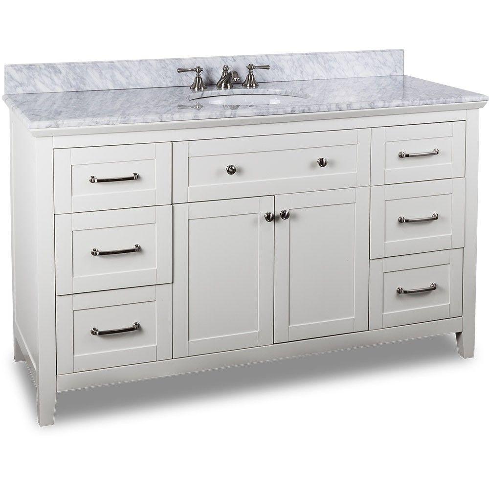 60 Inch White Finish Bathroom Vanity Carrera Marble Countertop