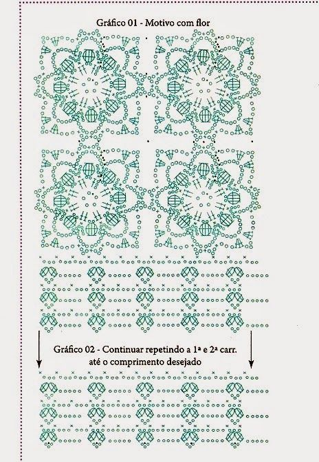 Top Crochet Flores relieve punto cuadrado - Patrones Crochet ...