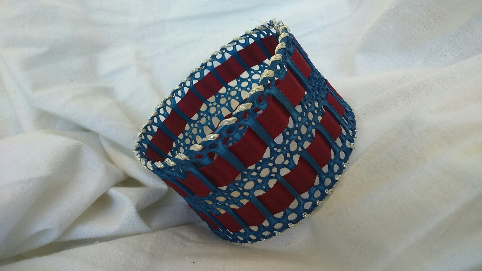 Blue red and silver bracelet made from