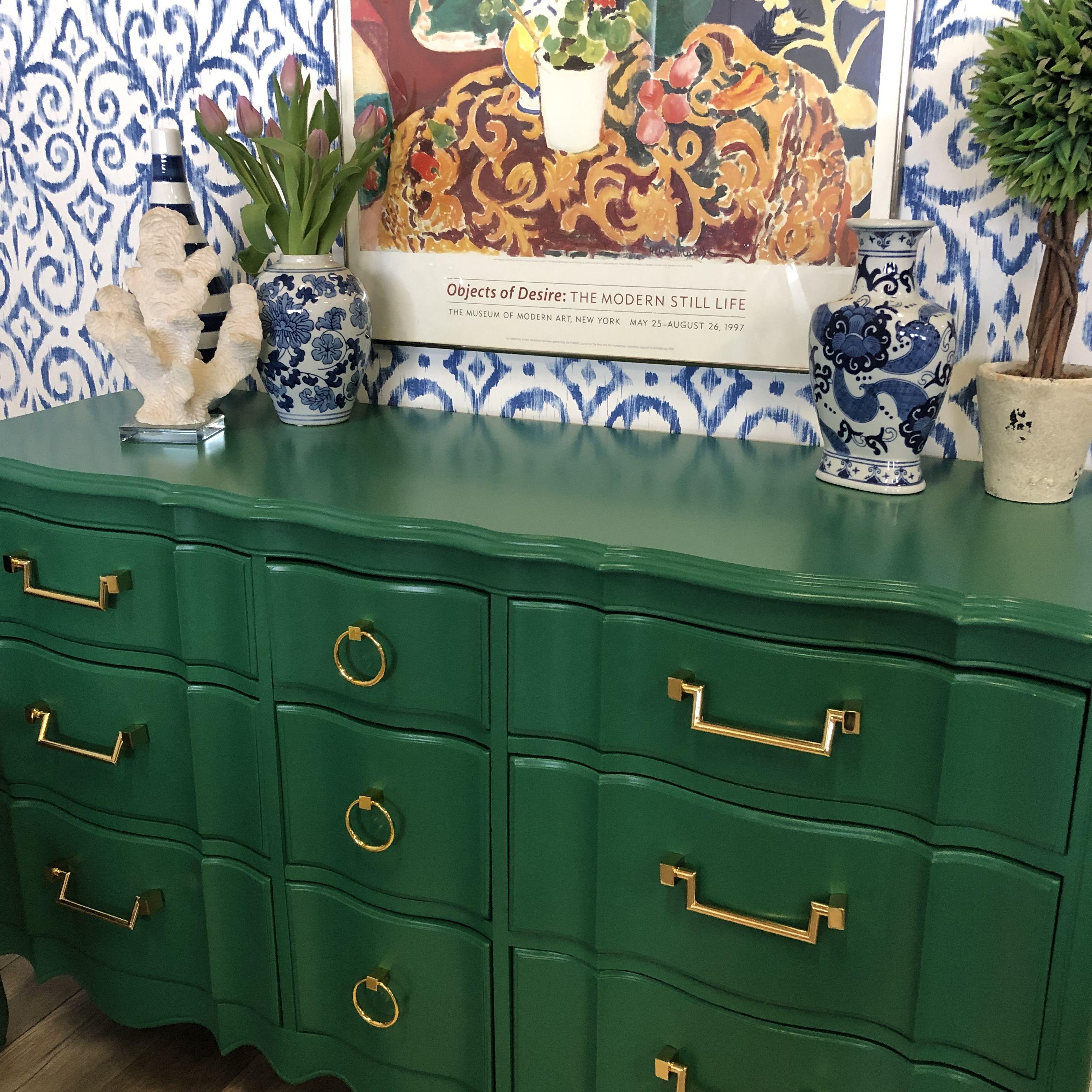 Emerald Green Dresser Green Painted Furniture Custom Painted Furniture Green Bedroom Furniture [ 3024 x 3024 Pixel ]