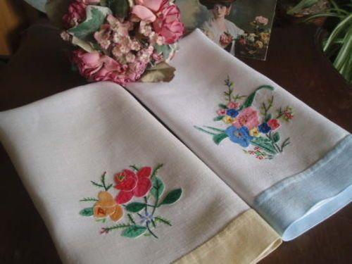 2 Vintage Irish Linen Embroidered Appliqued Towels   eBay