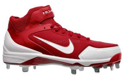 New Nike Air Huarache 2k Fresh Metal Mid Mens Baseball Cleats - Red / White
