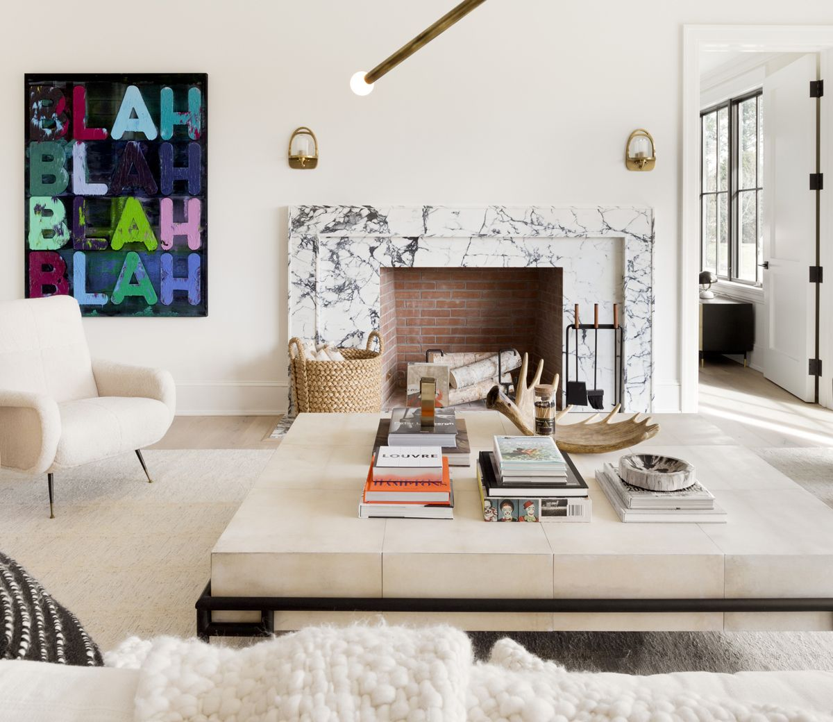A Combination Of All American Modern And Scandinavian Design Is Found In This Estate Loc Living Room And Bedroom Combo Hamptons Living Room Living Room Designs