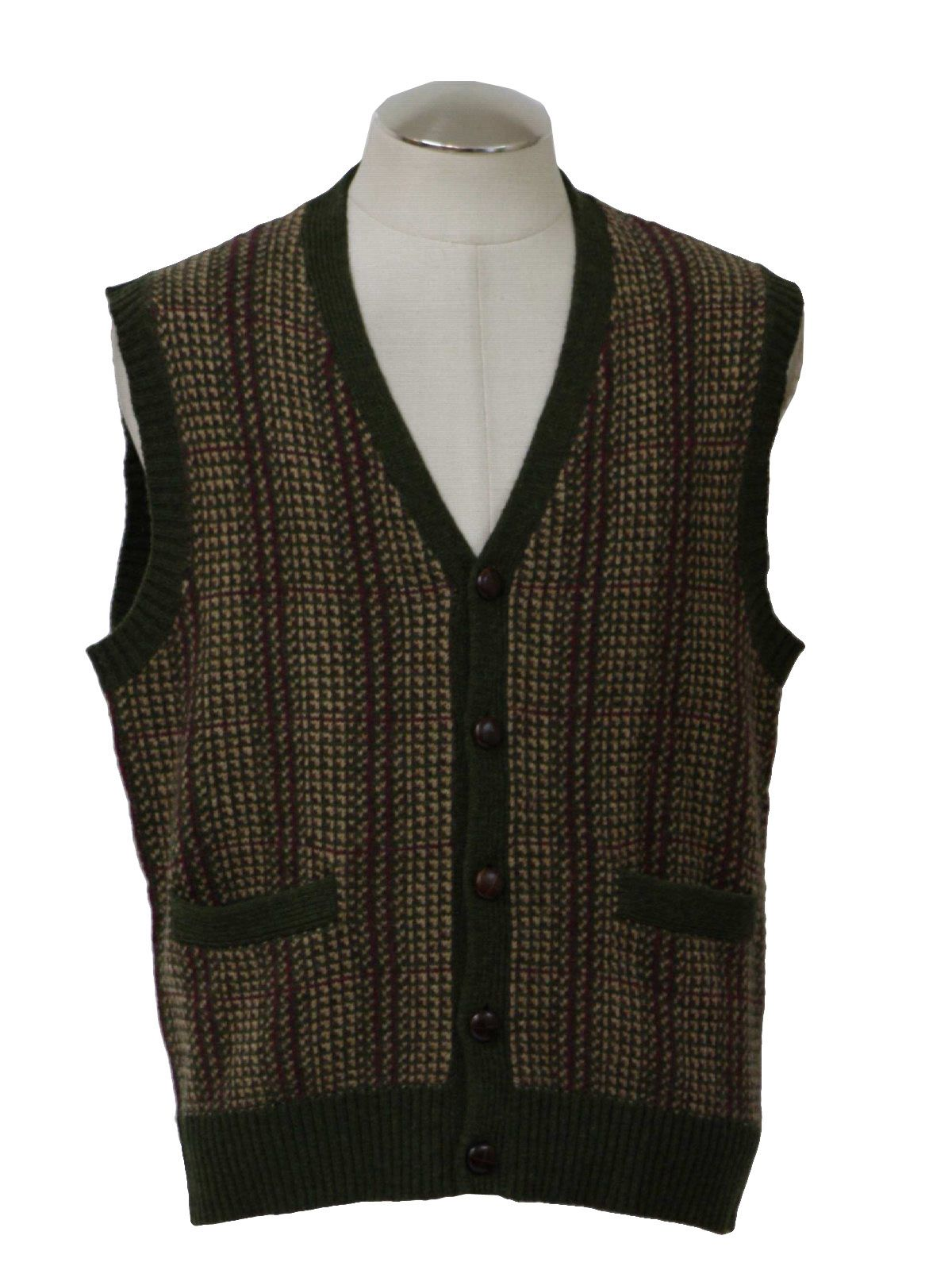 button up sweater vests 1950's | ... sweater vest with leather ...