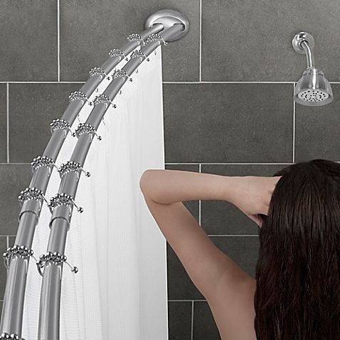 The Stylish Alumia Double Curved Shower Rod Adds Up To 8 Of Extra Space And Hangs The Shower Curtai Shower Rod Bathroom Remodel Shower Bathroom Shower Curtains