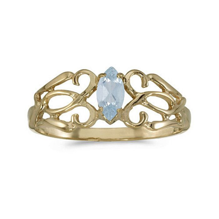 Hoff Jewelers :: 10k Yellow Gold Marquise Aquamarine Filagree Ring
