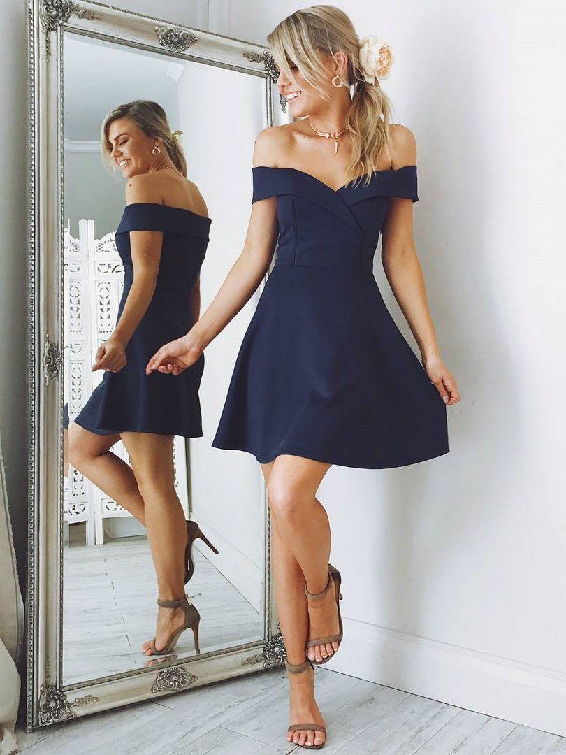 Off the shoulder short navy blue homecoming dress elegant dresses