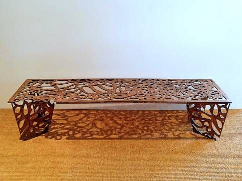 Custom Sculptural Metal Bench With Intricate Perforated