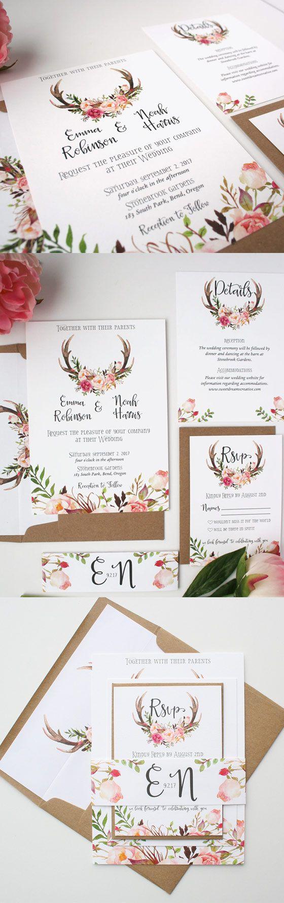 Antler wedding invitations for a rustic wedding