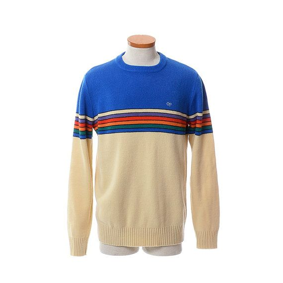 Vintage 80s Op Rainbow Ski Sweater 1980s Ocean Pacific Weather Wear New Wave Hipster Knit Ski Sweater Size Xl M Ski Sweater Ocean Pacific Clothing Sweaters