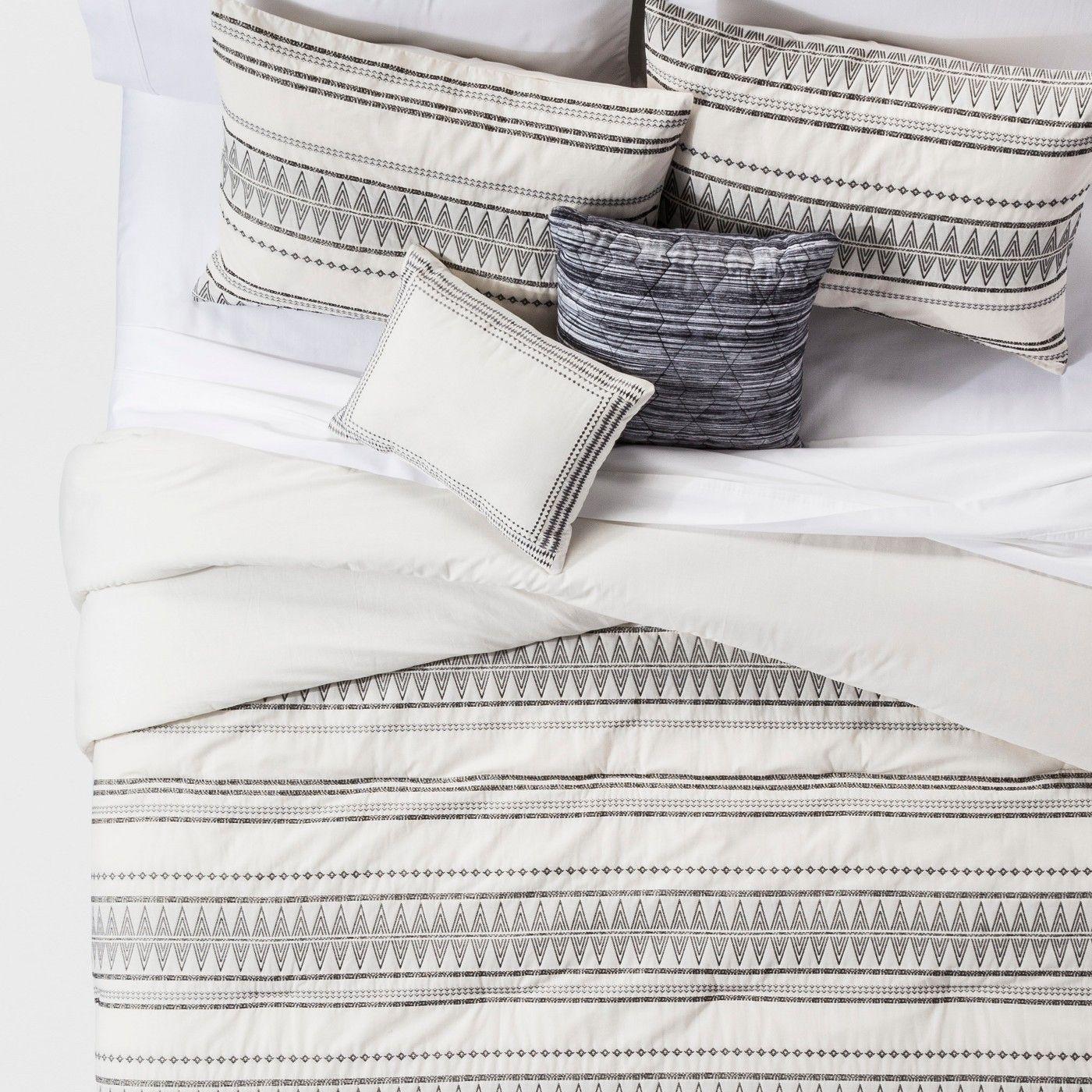 King 5pc Tatiana Global Woven Stripe Cotton Comforter Set Cream Comforter Sets Cotton Comforters Cotton Comforter Set
