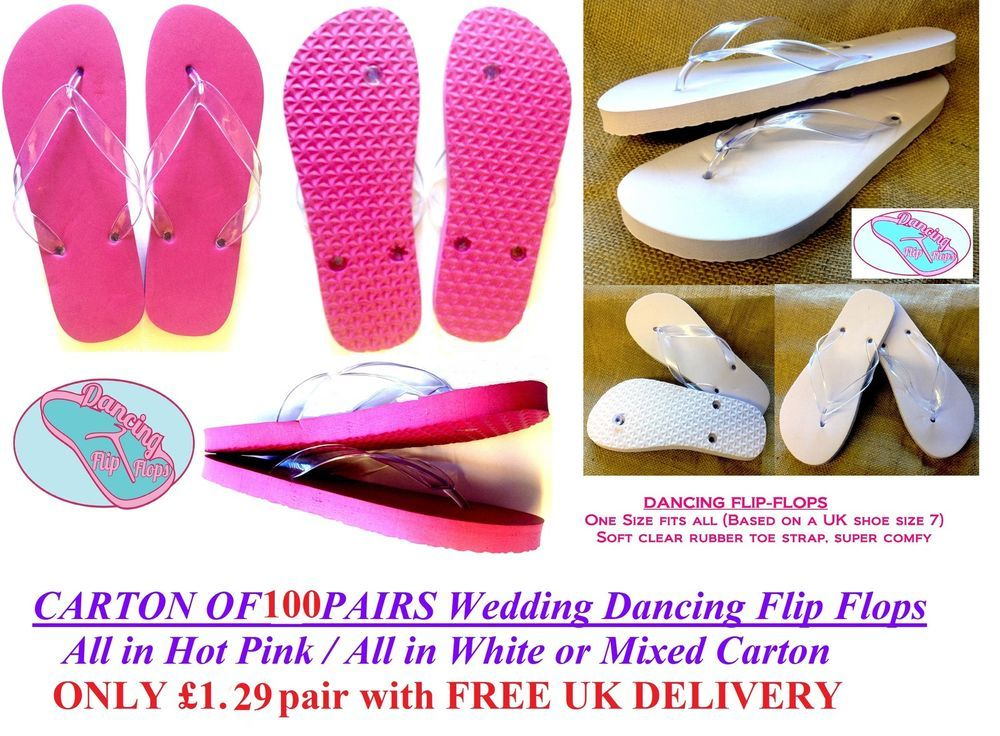 e9cb9af36 Pink or White Wedding Flip Flops -Bulk Buy- Shoe UK 5-7 x 100 Pairs - £1.29  pair
