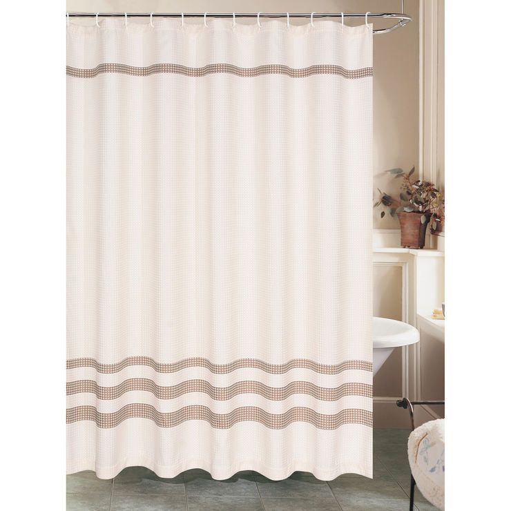 Cream Waffle Shower Curtain With Brown Stripe Brown Shower