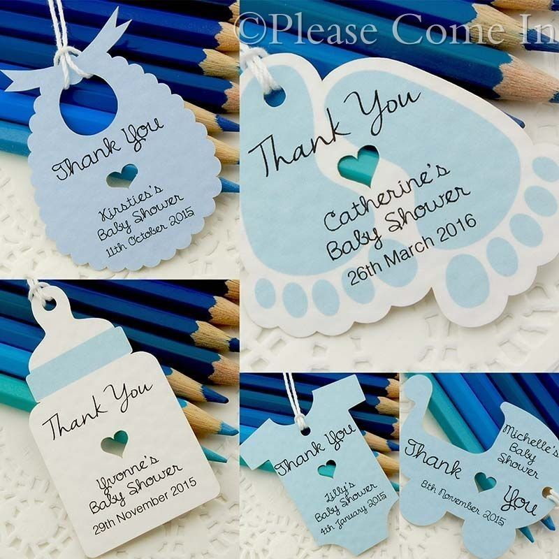 Blue Personalized Baby Shower Christening Favour Tags/Thank You Tags/ Gift  Tags