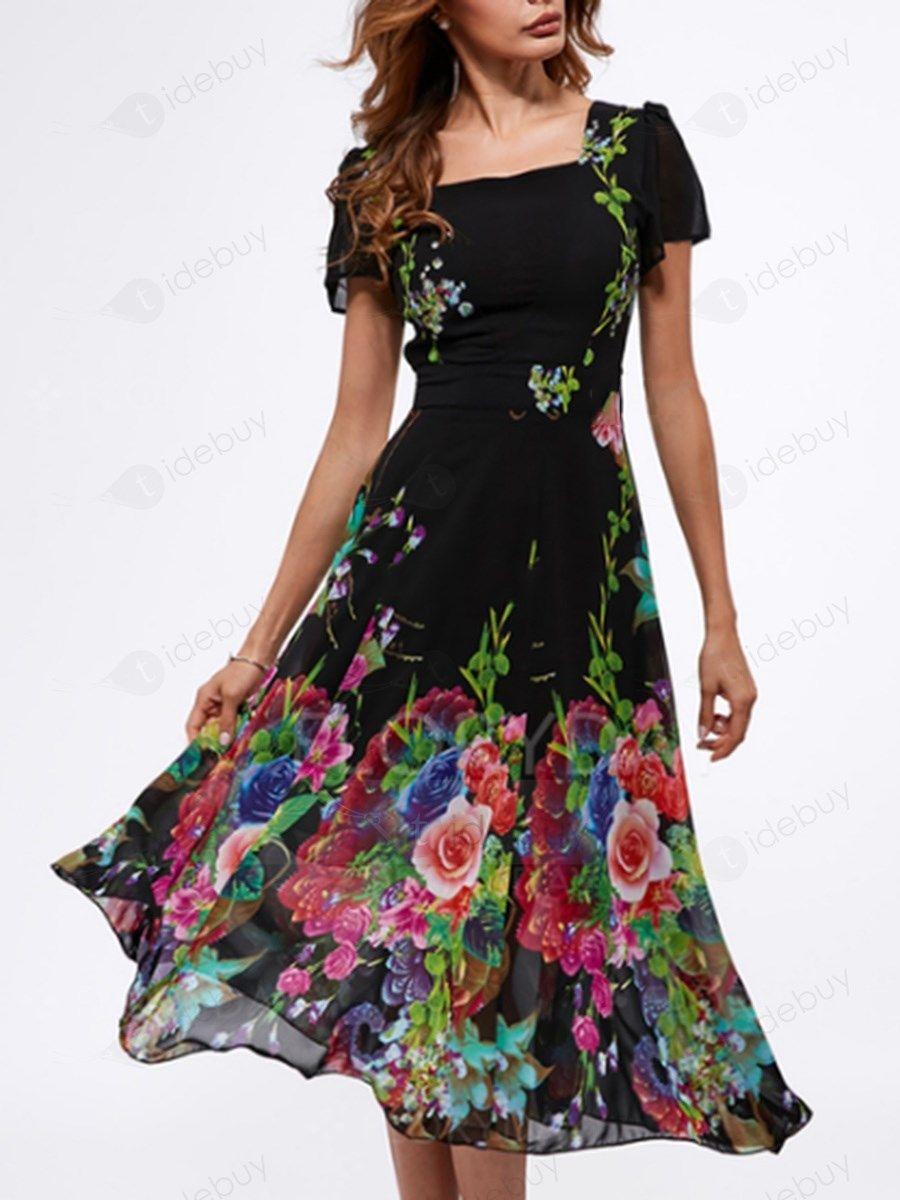 d0133279e7c7d0 Einfarbig Schwarz Tüll Blumen Muster Kleid : Tidebuy.com de | Outfit ...