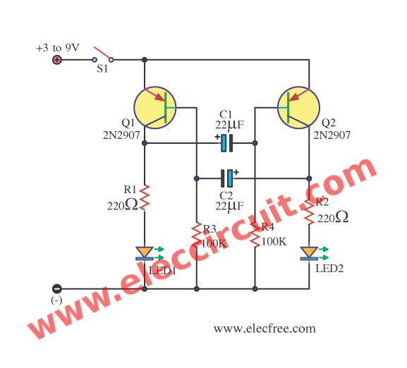 Led Flashers Circuits And Projects Using Transistor Eleccircuit Com Simple Electronic Circuits Circuit Electronics Circuit