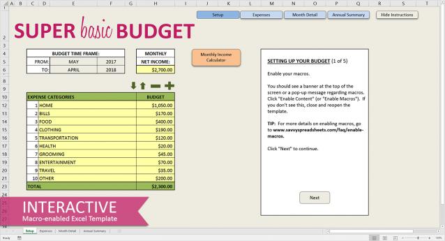 super basic budget worksheets