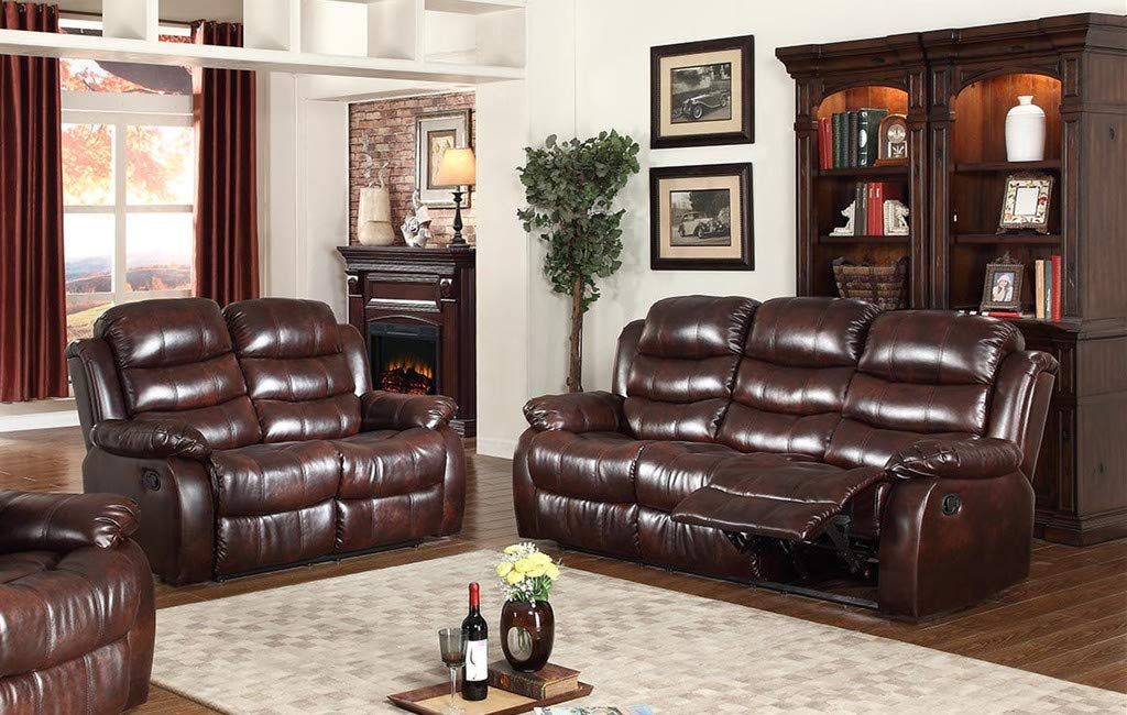 Gtu Furniture 2pc Brown Leather Reclining Sofa Loveseat Set Living Room Recliner Living Room Sets Leather Living Room Set