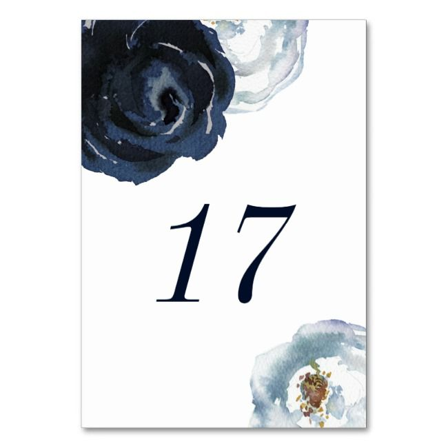 Chic Navy Blue Peony Floral Wedding Table Number | Zazzle.com #bluepeonies