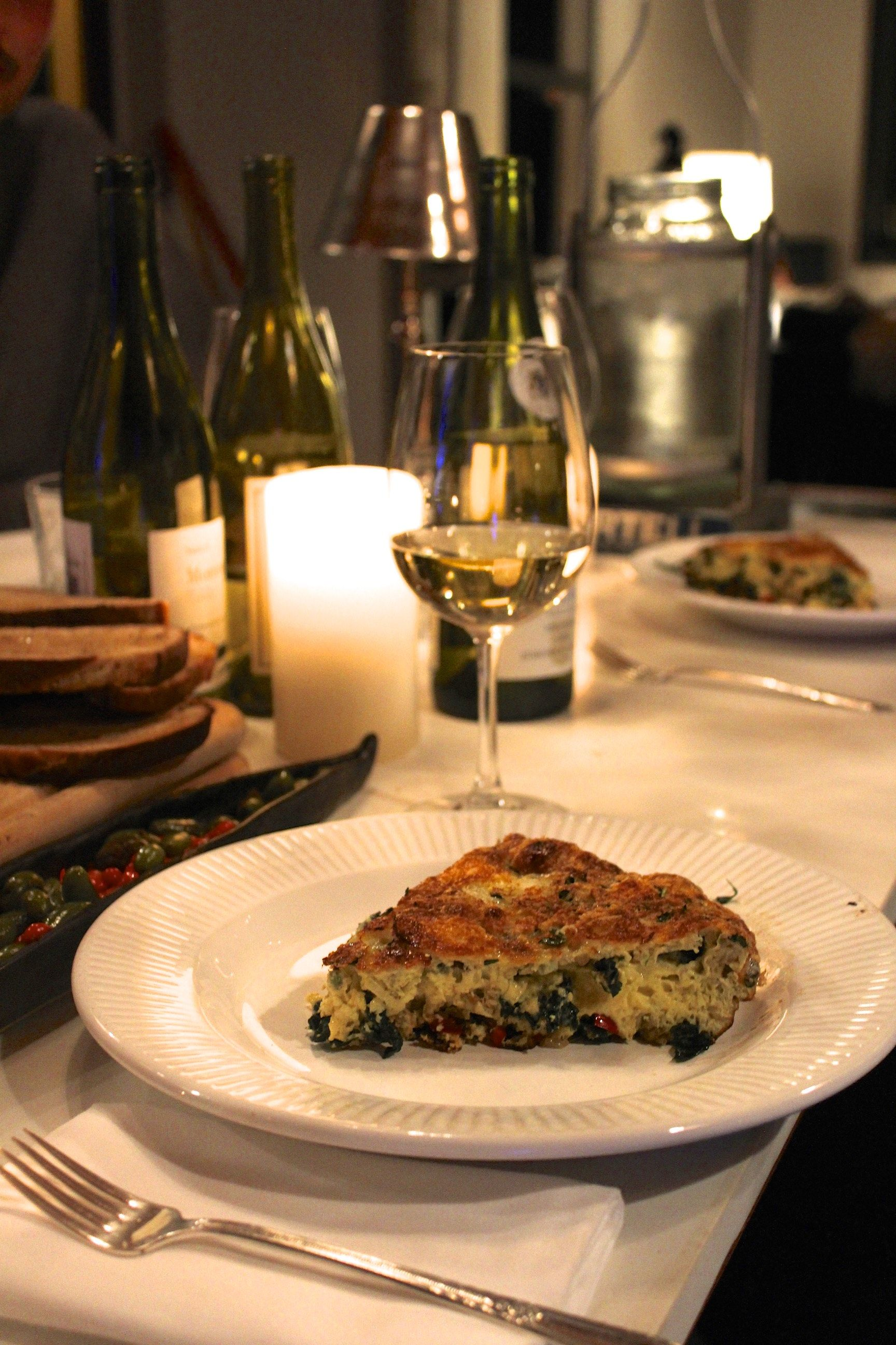 """One of our Sunday Night """"empty the fridge""""dinners at the farm ~ frittata with Navarro Sav Blanc, veg from the garden, and all the bits of cheese we didn't finish"""