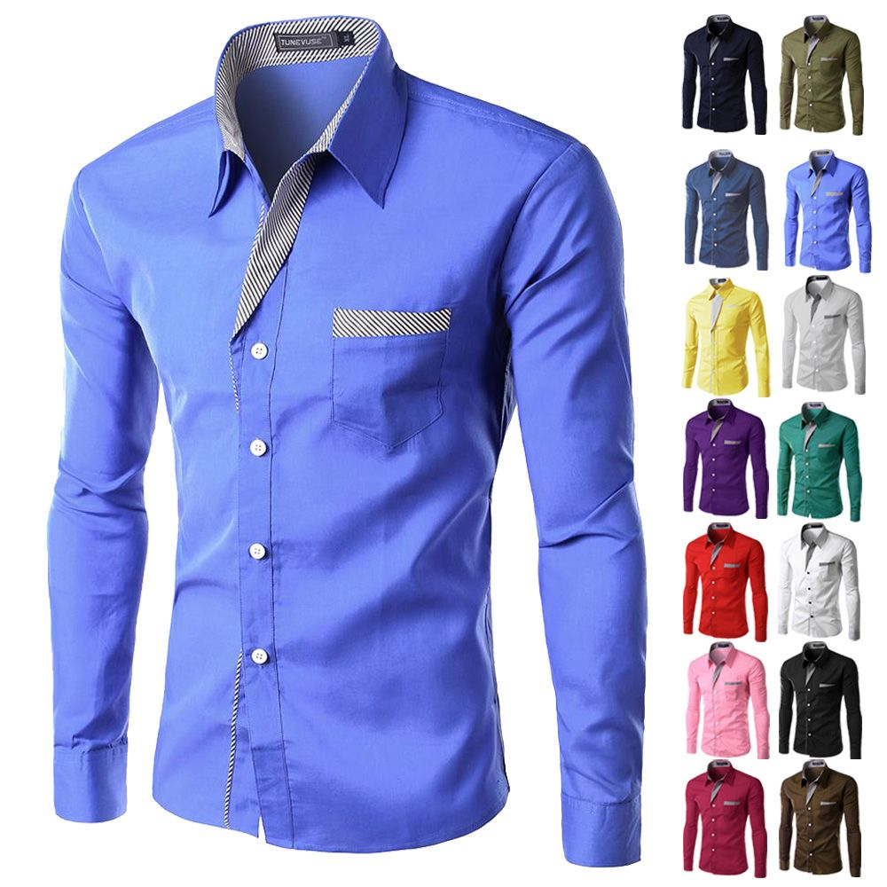 Brand New Mens Formal Business Shirts Casual Slim Long Sleeve ...