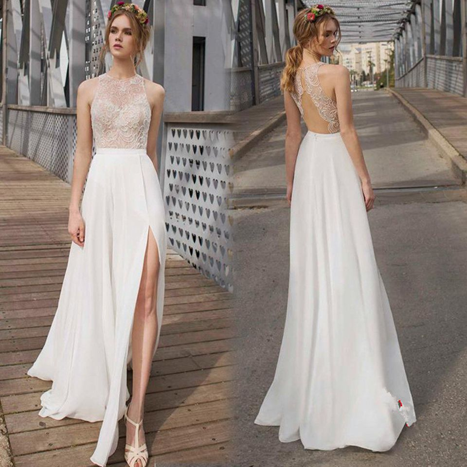 Click to buy ucuc sexy ivory lace prom dresses cheap high slit prom