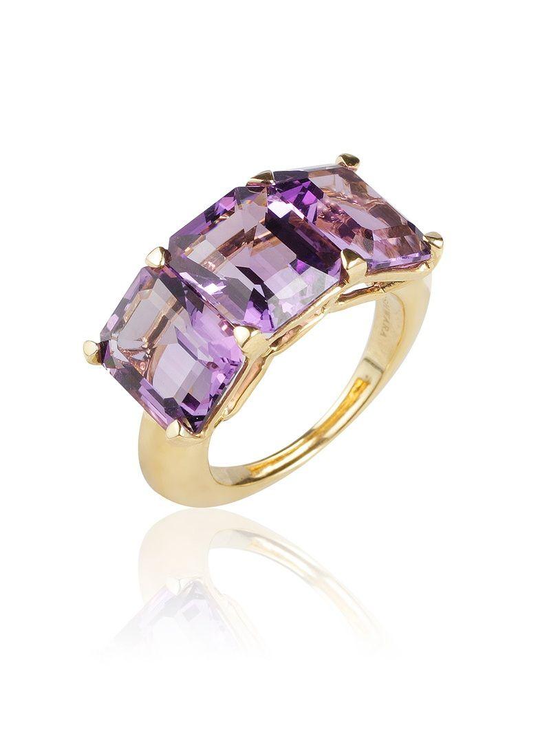 Goshwara Gossip Amethyst & Lavender 3 Stone Rings - 6.5 (M) vHhaG3